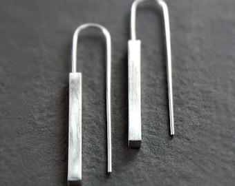 Silver Bar Earrings, Rectangle Threaders, Square Bars, Satin Finish, Simple Jewelry, Modern Minimalist Earrings, Geometric Dangle Earrings