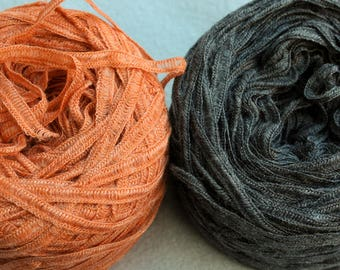 Orange Merino Wool Rayon blend Ribbon Yarn Sugar by L'Atelier 96 yards