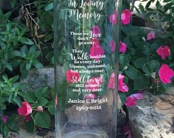 Personalized Memorial Vase - In Loving Memory Vase -Floating Wedding Memorial Candle - Memorial Candle - Engraved Memorial Cylinder