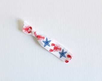 Elastic Hair Tie, Nautical Hair Tie, Starfish Hair Tie, Printed Hair Tie, FOE Hair Tie, Single Hair Tie, Creaseless Hair Tie Ponytail Holder