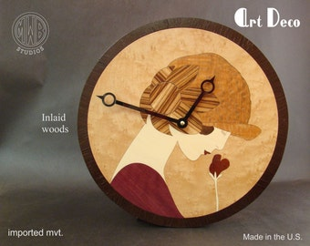 Wall Clock with Art Deco Female Inlay. WC-2 Free Engraving, Free Shipping within the U.S.