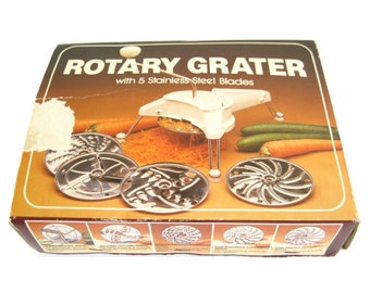 Plastic Rotary Grater Shredder Slicer Salad Maker, complete with 5 metal disks, Hong Kong (twin of Mouli Julienne)