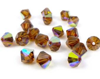 20 x Swarovski® 6 mm SMOKED TOPAZ AB Crystal bicone beads