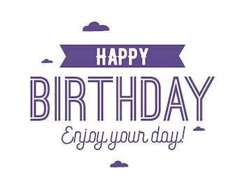 Happy Birthday Enjoy Your day! Pantone Color of the year Ultra Violet greeting card