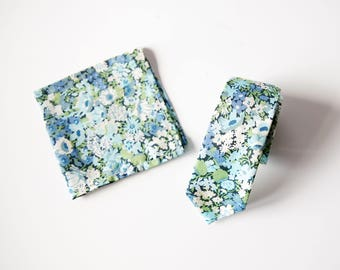 Blue, Liberty of London Necktie, custom wedding necktie, blue tie, groomsmen necktie, skinny tie, custom groomsmen tie, floral tie