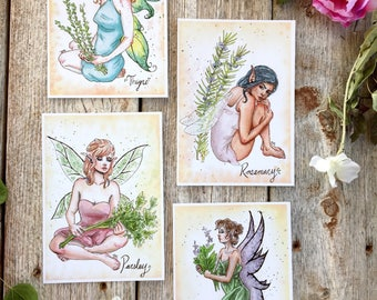 Botanical Print Set // frameable fairy, herbs wall art, parsley, sage, rosemary, thyme, fairy herb, gardener gift ideas for women