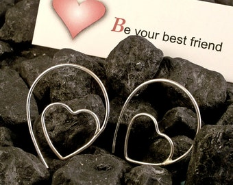 Silver Hoop Earrings / Silver Heart Hoops / Minimalist Modern Simple Unique Different Pretty Cute Handmade Valentine
