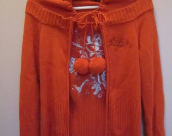 Ladies Woolen Plan Knit with Embroidery with Hood Sweaters