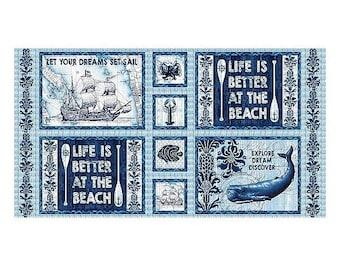 Better At The Beach 24In X 43In Panel, Indigo Coastal - Studio E Cotton Fabric