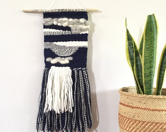 Blue Gray Woven Wall Hanging
