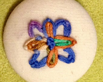 Purple Blue Copper - hand embroidery art MAGNET