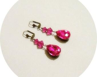 Fuchsia Earrings, Hot Pink Earrings, Pink Drop Earrings, Dressy Pink Earrings, Fuchsia Crystal, Long Earrings Fuchsia, Holiday Jewelry
