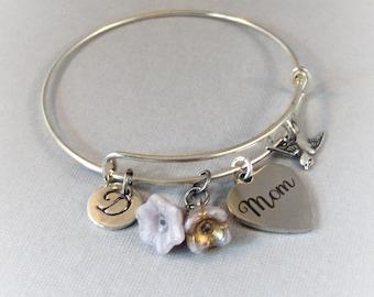 Sparrow in Bloom For Mom,Mom Bracelet,Mom Bangle,Mother,Mom in Handmade,Mom Jewlery,Mom,Mother Bracelet,Bird Bracelet,Sparrow Bracelet,