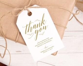 Gold Thank You Tag, Gift Tags, Wedding Thank You Tags, Wedding Favor, Thank You Printable, Favor Tag, DiY Kraft Printable tags, WPC_175SD1C