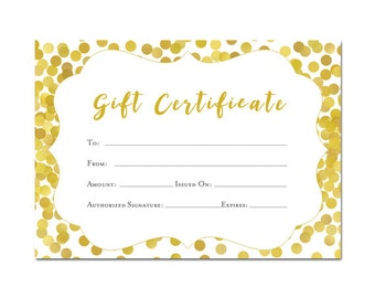 Floral gift certificate download flowers premade gift gold gift certificate 5x7 glitter confetti printable premade gift certificate yadclub Image collections