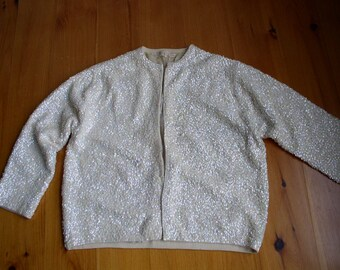 Beaded Sequined Vintage White wool lined  Woman's Cardigan Sweater
