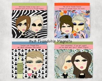 Friendship Magnets - 3x3 fridge magnets office magnets art magnets