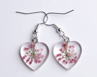 Resin Earrings-Heart earrings-true wild carrot flower-