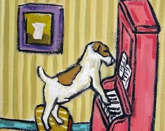 25% off Jack Russell Terrier Playing the Piano Dog Art Tile Coaster