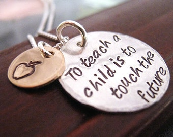 To Teach -  Hand Stamped Teacher Necklace -