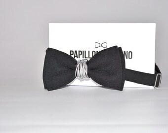 Papillon Italiaanse handgemaakte 100% aluminium Center Made zwart-in Italy-Bowtie