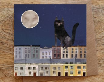 ROOFTOP CAT Greeting Card, Cat Card, Black Cat Card, Moon Card, Townhouses, Houses, Street, Night, Illustrated, Collage, Blank, Birthday