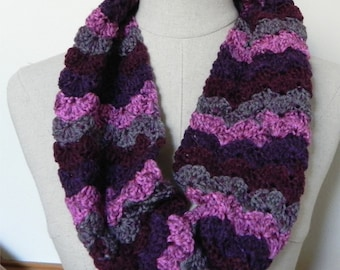 Crochet infinity scarf in shades of magenta pink, purple grape, marsala red, and magenta speckled gray is ready to ship, crochet cowl #527