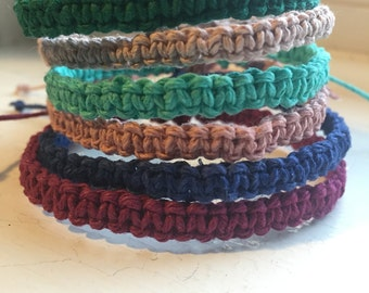 Adjustable Hemp Bracelet, 25 Colors To Choose From, Custom Bracelet, Hemp Jewelry, Natural, Stackable Bracelet