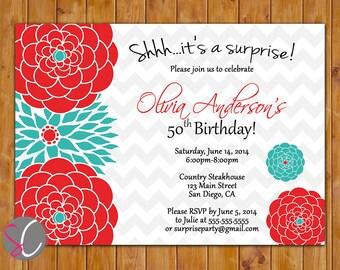 Surprise Birthday Party Celebration Invitation Red Teal Floral Burst  50th 60th Milestone Adult Birthday 5x7 Digital JPG DIY Printable (305}