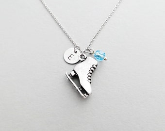 Ice Skate Initial Necklace Personalized Hand Stamped - with Silver Ice Skate Charm and Custom Bead