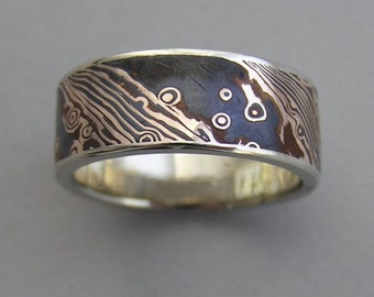 Rose gold and shakudo Mokume-gane wide band