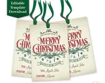 Christmas Gift tags, Holiday Gift Tags, Christmas Tags, Hang Tags - Printable EDITABLE INSTANT DOWNLOAD - Merry Christmas