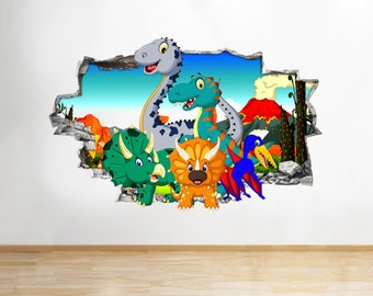 Q615 Cartoon Dinosaurs Kids Cool Smashed Wall Decal 3D Art Stickers Vinyl Room
