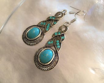 Natural Turquoise & Crystal Drops!