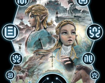Legend of Zelda Breath of the Wild inspired painting illustration gaming movie poster - signed museum quality giclée fine art print