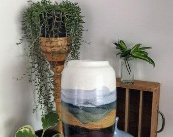 Large Art Pottery Vase Vintage Pottery Vase Southwest Desert Scene Large Ceramic Vase Tall Studio Pottery Vase Modern Southwest Boho Vase