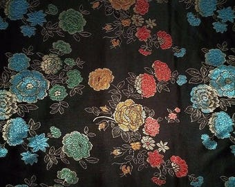 9.90 Euro per metre-beautiful China jacquard black with colourful flowers 90 cm noble