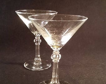 Set of 2 Martini Glasses with Facet Stems
