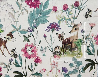 Disney Bambi Botanical Digital Printing Linen Blended Fabric by Half Yard, Width 152cm(59 Inches)
