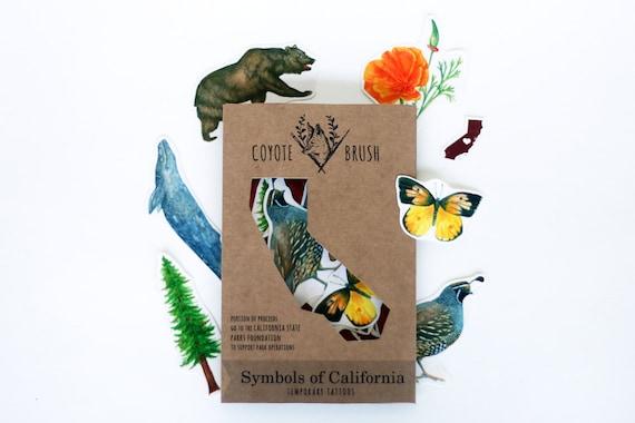 Symbols Of California Temporary Tattoos Ca Poppy Dogface