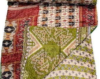 A Vintage Handmade Kantha Quilt, Boho Bedding, Vintage quilt, Kantha Throw, Reversible Quilt VKQ1694