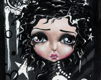 Big Eye Art Mixed Media Goth Giclee Print Signed Reproduction Black Beauty by Lizzy Love [IMG#18]