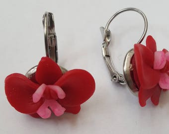 Earrings RED ORCHID