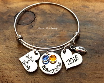Homecoming Bangle Bracelet, Personalized Gift for Homecoming, Gift for Girlfriend, School Spirit Bangle, School Spirit Jewelry, School Pride