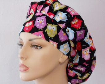 Colorful Owls Bouffant Scrub Hat All Over with a Matching Headband Medical Scrub Hat
