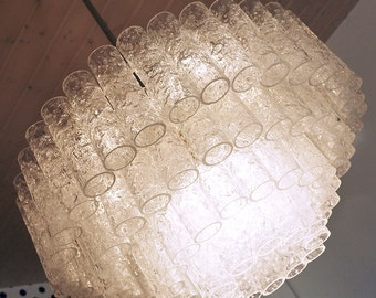 XXL CRYSTAL Chandelier by DORIA with Murano Glass Tubes Germany 1060s