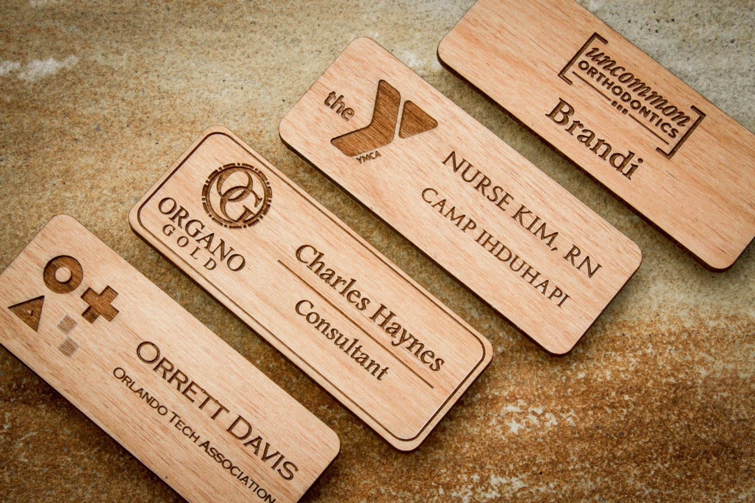 Finest Custom Engraved Wood Name Badge Personalized Magnetic Name FN18