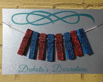 Mini Clothespins, Set of 8, Glittered, For Office or Crafting, Red/Dark Blue (4 of each)