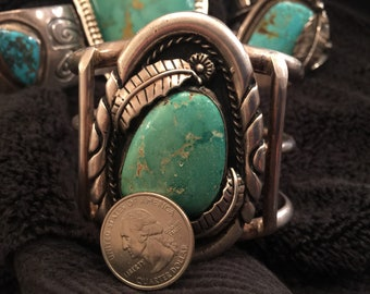 Perfect Sturdy Huge Native American Mans Turquoise Cuff Bracelet