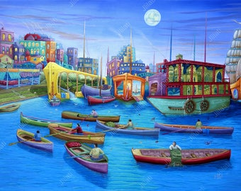 Original oil painting Radiance Port   Expressionism, oil painting, original artwork, Architecture, cityscape, colorful